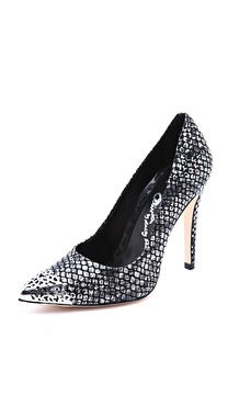 alice + olivia Devon Metallic Snake Print Pumps
