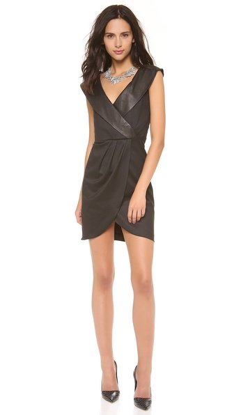alice + olivia Shayna Shawl Collar Dress