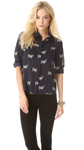 alice + olivia Willa Placket Top