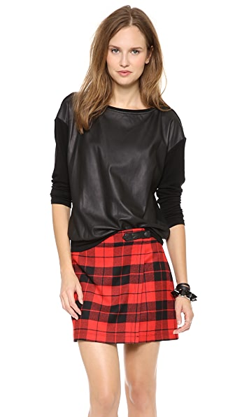 alice + olivia Dominique Leather Sweater