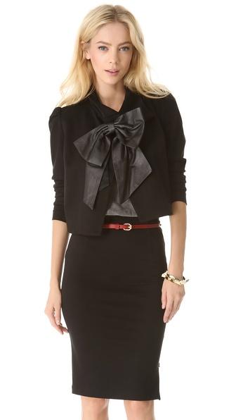 alice + olivia Shandy Leather Bow Jacket