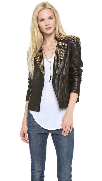 alice + olivia Adel Studded Leather Jacket