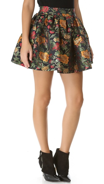 alice + olivia Jack Box Pleat Floral Skirt