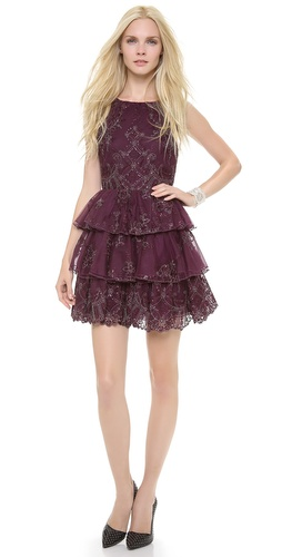 alice + olivia Rowley Sheer Back Tiered Dress at Shopbop / East Dane