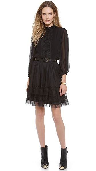 alice + olivia Suze Tiered Lace Dress