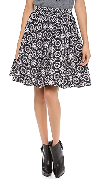 alice + olivia Garrie Embroidered Full Skirt
