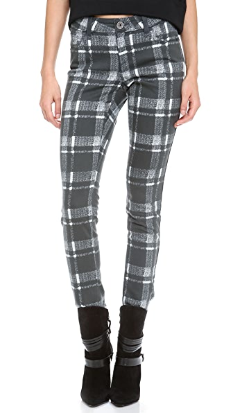 alice + olivia Textured Plaid Skinny Jeans