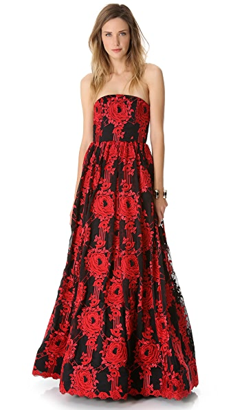alice + olivia Kassandra Strapless Full Skirt Gown
