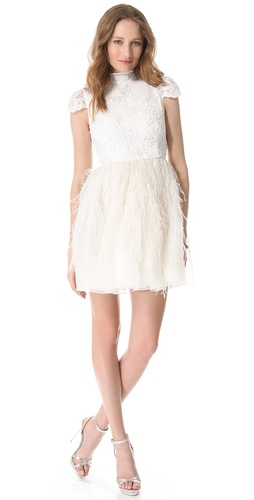 alice + olivia Gwen Feather Skirt Dress
