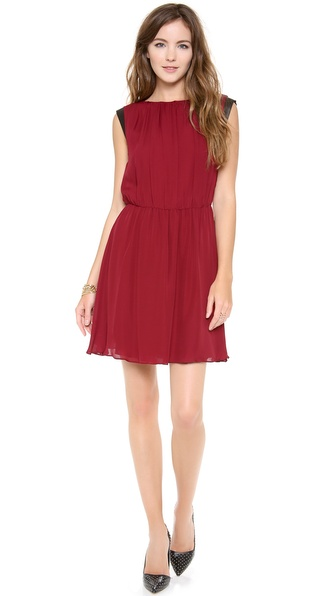 alice + olivia Meg Leather Mini Cap Sleeve dress