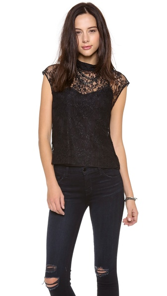 alice + olivia Hanna Mock Neck Top
