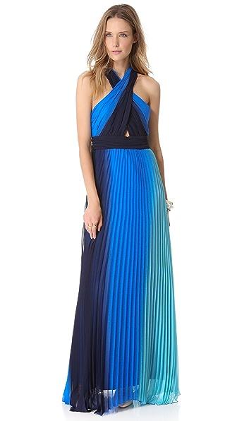 alice + olivia Jaelyn Cross Top Flare Dress