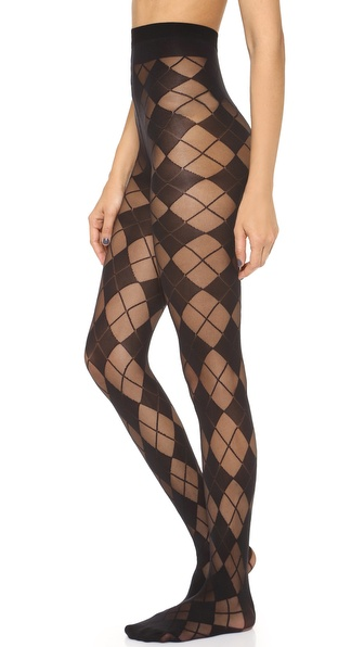 Alice + Olivia Semi Sheer Argyle Tights - Black at Shopbop / East Dane