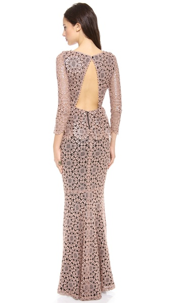Alice + Olivia Regina Lace Peplum Gown - Black/Pink at Shopbop / East Dane