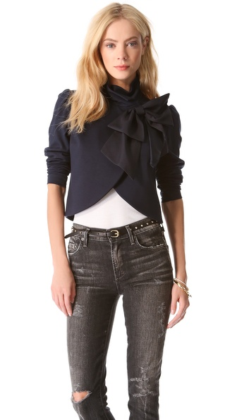 Alice + Olivia Addison Bow Crop Jacket - Navy at Shopbop / East Dane
