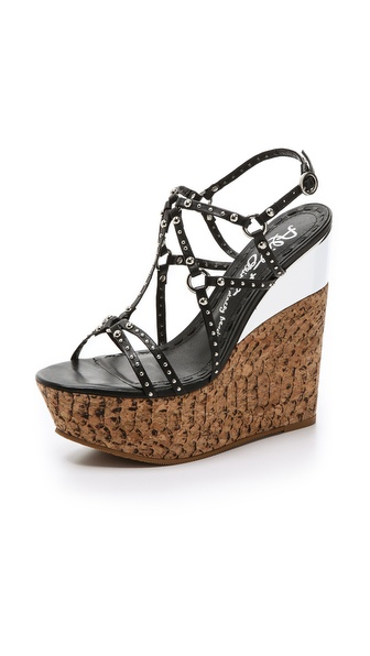 Alice + Olivia Shayla Wedge Sandals - Black at Shopbop / East Dane