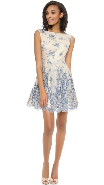 alice + olivia Fila Flare Box Pleat Dress