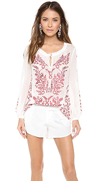 alice + olivia Preston Embroidered Peasant Top