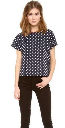 alice + olivia Misty Leather Trip Boxy Tee at Shopbop / East Dane