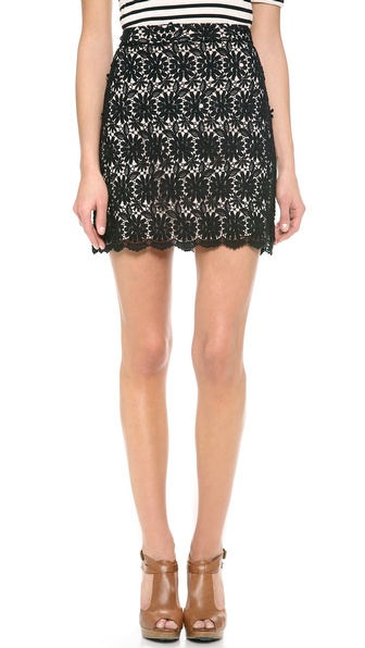 Alice + Olivia Lucia A Line Short Skirt - Black/Nude at Shopbop / East Dane