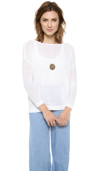 Alice + Olivia Boxy Boat Neck Sweater - White at Shopbop / East Dane