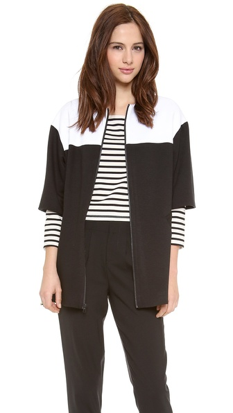 alice + olivia Annie Oversized Colorblock Jacket
