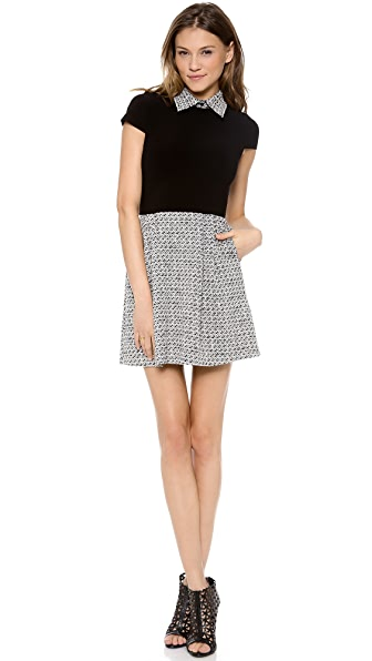alice + olivia Charlotte Cap Sleeve Belted Dress
