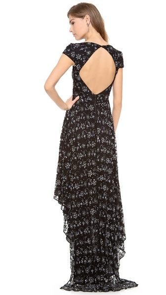 alice + olivia Glen Embellished Draped Gown