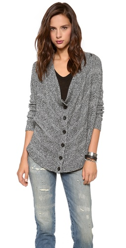 alice + olivia Alize Drape Front Marled Cardigan at Shopbop / East Dane