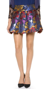 alice + olivia Oksana Box Pleat Embroidered Skirt