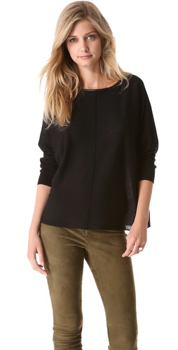 alice + olivia Abbot Pullover with Leather Trim at Shopbop / East Dane