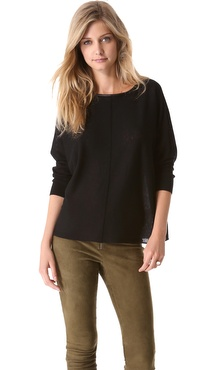 alice + olivia Abbot Pullover with Leather Trim