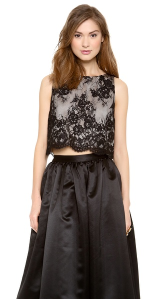 Alice + Olivia Cropped Lace Tank - Black at Shopbop / East Dane
