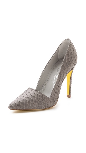 Alice + Olivia Dina Snake Embossed Pumps - Grey at Shopbop / East Dane