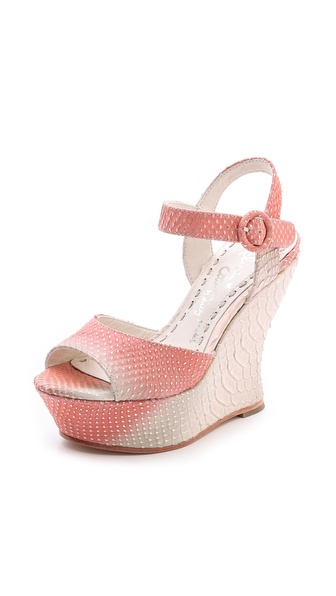 Alice + Olivia Jana Ombre Wedge Sandals - Natural/Coral at Shopbop / East Dane