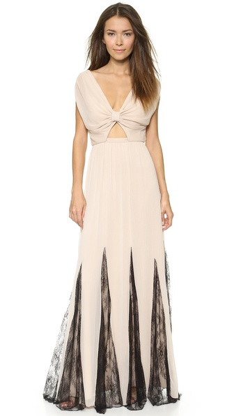 alice + olivia Ginevia Knot Front Maxi Dress