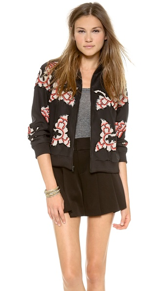 Alice + Olivia Felisa Embellished Zippered Jacket - Black/Nude/Red at Shopbop / East Dane