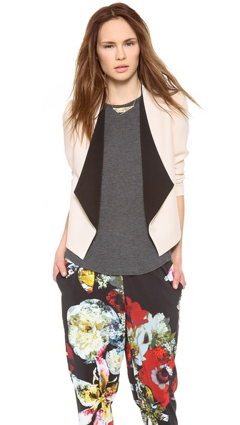 Alice + Olivia Oliver Draped Shawl Collar Blazer - Bone/Black at Shopbop / East Dane