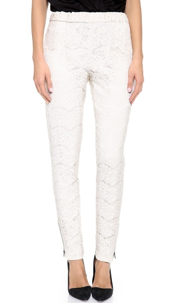 Alice + Olivia High Waisted Lace Pants - Ivory at Shopbop / East Dane