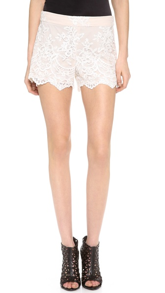 Alice + Olivia High Waisted Lace Short - Cream/Nude at Shopbop / East Dane