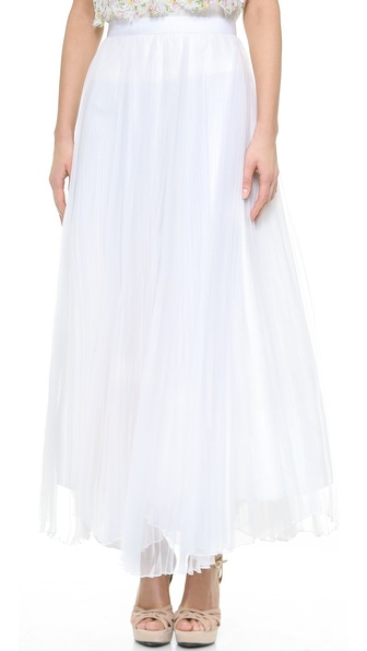 Alice + Olivia Bethie Pleated Maxi Skirt - White at Shopbop / East Dane
