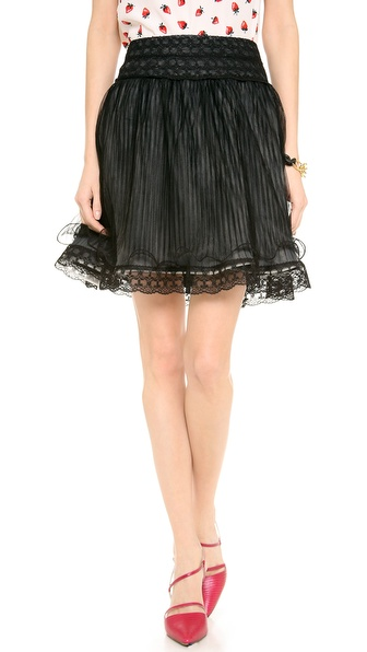 Alice + Olivia Moriah Lace Tiered Skirt - Black at Shopbop / East Dane