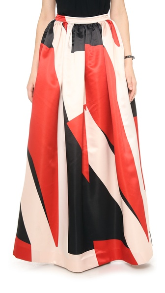 Alice + Olivia Abella Ball Gown Colorblock Maxi Skirt - Charcoal Colorblock at Shopbop / East Dane