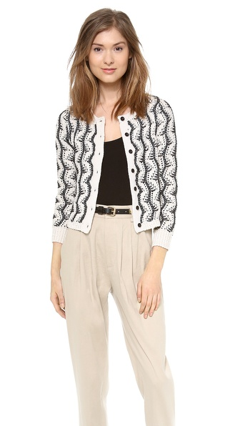 Alice + Olivia Georgia Textured Crop Cardigan - Black/Cream at Shopbop / East Dane