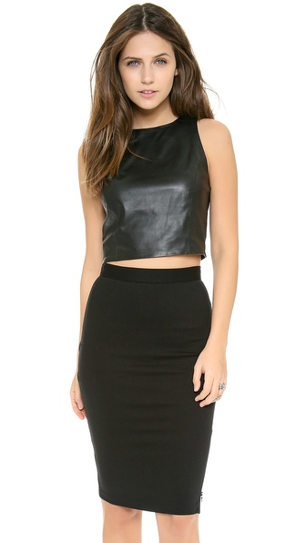alice + olivia Lorita Cropped Fitted Tank