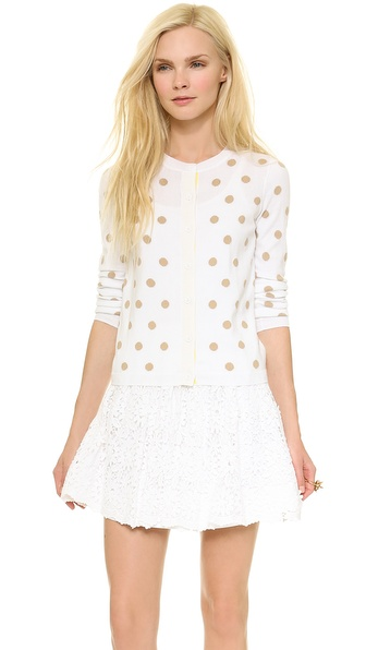 Alice + Olivia Basic Crew Neck Cardigan - White/Barley at Shopbop / East Dane