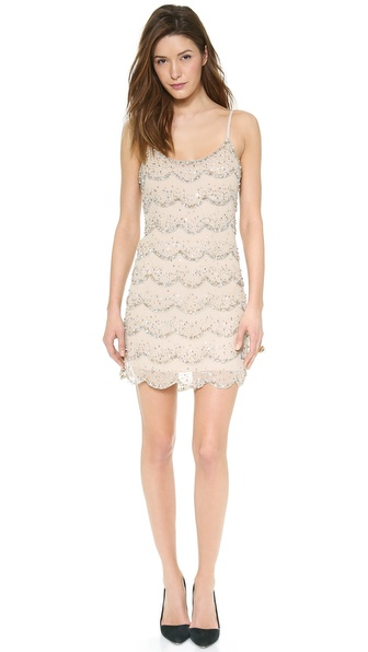 Alice + Olivia Wes Embellished Scallop Slip Dress - Clear/Silver/Pale Gold