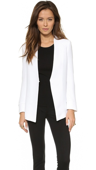 Alice + Olivia Long Slim Collarless Blazer - White at Shopbop / East Dane