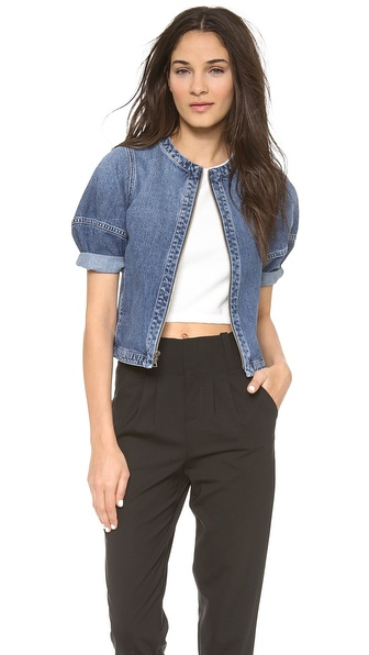 Alice + Olivia Palm Cropped Box Denim Jacket - Medium Indigo at Shopbop / East Dane