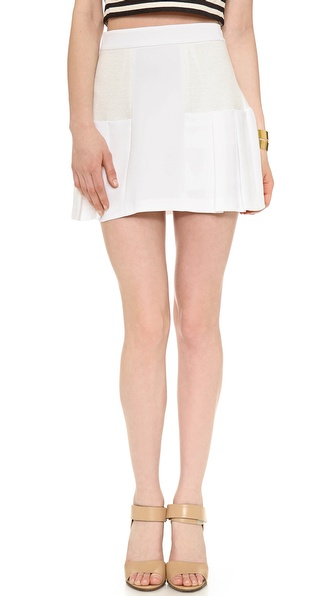 Alice + Olivia Linder Box Pleat Skirt - White